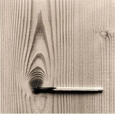 This is the creative work by Chema Madoz. I truly enjoy finding artists that cause their viewers to see things with a different perspective. It inspires me because of the contrast, unity and balance that the photo demonstrates. The vertical grain of the wood paired with the horizontal extinguished match creates a very unique photo.