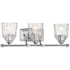 """D'or 23 1/4""""W Chrome and Faceted Glass 3-Light Bath Light - #9G979 