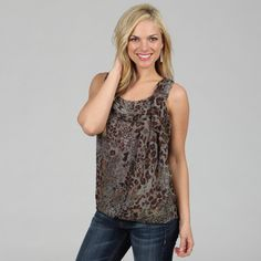 @Overstock.com - Amelia Womens Grey Animal Print Sleeveless Blouse - An allover animal print adorns the body of this blouse from Amelia, adding stylish texture. This sleeveless top has a scoop neck with a feminine draped scarf detail.  http://www.overstock.com/Clothing-Shoes/Amelia-Womens-Grey-Animal-Print-Sleeveless-Blouse/7622087/product.html?CID=214117 $37.49