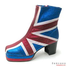 Union Jack Glitter Platform Boots.  These would go VERY well with my UJ bag.  Of course,my UJ bag is Black and Silver.