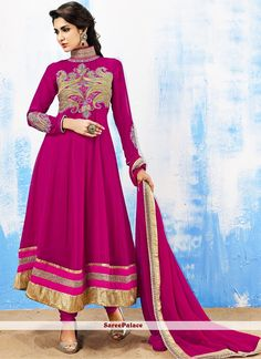Magenta Shaded Embroidery Work Anarkali Suit