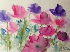 ORIGINAL WATERCOLOR watercolor painting image unique flowers