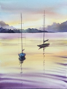 Pastel Landscape, Watercolor Landscape Paintings, Seascape Paintings, Landscape Art, Watercolor Illustration, Watercolor Art, Boat Drawing, Sailboat Painting, Boat Art