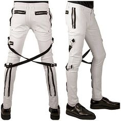 TRIPP NYC GOTHIC CHAOS TIGHT WHITE GOTH PUNK EMO PANTS IS6037M
