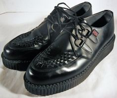 VTG TUK Mens Black Leather Creepers Platform Shoes Sz 10 PUNK GOTH BILLY England #TUK #PlatformShoes
