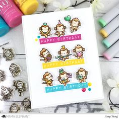 Handcrafted Cards Made With Love: Little Monkey Agenda - Mama Elephant Stamp Highlight | happy birthday
