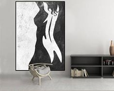 abstract nude woman painting, original abstract painting, acrylic painting black and white wall decor, large abstract art,