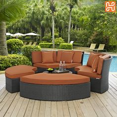 Modway Sojourn Collection 31 Inch Outdoor Patio Sunbrella Daybed with Ottomans, Glass Top Coffee Table, Synthetic Rattan Weave, Powder Coated Aluminum Frame, UV and Water Resistant in Canvas Tuscan Color Patio Daybed, Outdoor Wicker Patio Furniture, Outdoor Daybed, Patio Furniture Sets, Outdoor Decor, Outdoor Sectional, Outdoor Spaces, Furniture Layout, Furniture Design