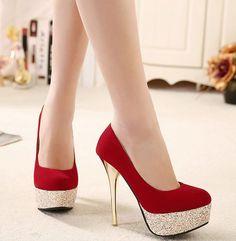 Lindo vermelho Salto Alto Sapatos Moda - / Gorgeous Red High Heels Fashion Shoes -