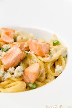 pasta espaguetis con salmón sin gluten