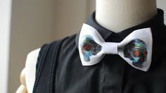 MERLIN Fashion Hot Bowtie,Basic Style with Inventive design, White bowtie with dimond skull printing, Bow Tie or Hair Bow on Etsy, $20.99