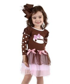 Love this Brown & Pink Football Dress - Infant, Toddler & Girls on #zulily! #zulilyfinds