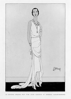 A draped evening dress from 1929. #vintage #1920s #fashion_illustrations