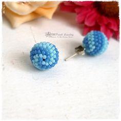 HEKA - Beaded Ball Earrings Beaded Bead Handmade Stud Earrings Minimalist Blue Seed Beads Beadwork Jewelry OOAK によく似た商品を Etsy で探す
