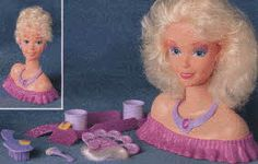 LMFAO!!!! This is why I became a cosmetologist. My mom swares this is in her basement somewhere.Barbie Color Change Makeup Center From The 1990s