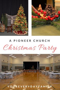 A Pioneer Christmas Church Party-plan a vintage style Christmas with free printables and ideas on bringing the old-fashioned feel of the pioneers to your Ward Christmas party! Church Christmas Decorations, Christmas Table Centerpieces, Christmas Signs Wood, Outdoor Christmas, White Christmas, Christmas Fun, Christmas Brunch, Christmas Breakfast, Christmas Activities