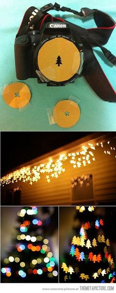 Simple Idea, Awesome Result…  make Christmas lights come out shaped @Caleb Keime  @Poly Keime