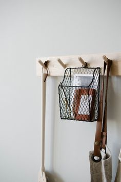 A clever wall pocket for holding post cards, letters and notebooks. Fits perfectly with our peg rail.