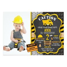 103 best construction birthday party invitations construction