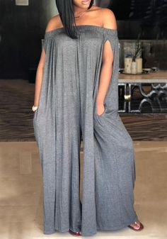 5ad1b8682f6 Grey Draped Pockets Off Shoulder Backless Party Casual Wide Leg Long  Jumpsuit