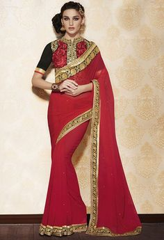 Wonderful Red Color Chiffon Saree in Salsa Online