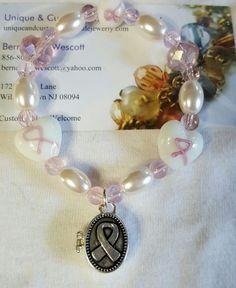 breast cancer awareness ribbon prayer box handmade bracelet sizing available #Handmade #StrandString