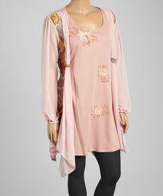 Look what I found on #zulily! Mauve & Green Floral Linen-Blend Handkerchief Dress - Plus #zulilyfinds