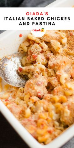 """This Italian baked chicken and pastina is a heary and delicious weeknight dinner. Pastina literally means """"little pasta"""" so it can be any type of small shape pasta, even small elbow macaroni, which kids love! To get the golden brown parmesan crust, just add a little bit of soft butter on the top. The breadcrumbs absorb the butter and it creates a nice crispy golden brown crust!"""