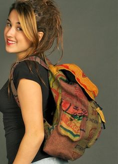 Backpack made of recycled jute rice bags