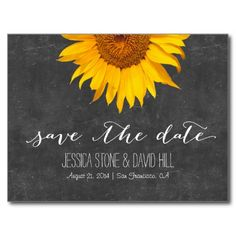 Country Sunflower Chalkboard Wedding Save the Date Announcements.