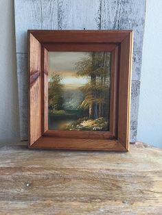 Mountain Scene Vintage Painting - River Lake Scenic Mountain Painting - Vintage Painting - Signed by Artist - Rustic Pine Frame - Cabin Home Urban Rustic, Country Primitive, Rustic House, Rustic Cabin, Ornament Decor, Christmas Angels, Frame, Painted Signs, Vintage