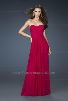 Ruched Long Fuchsia La Femme Style 18164 Low Back Strapless Prom Dress
