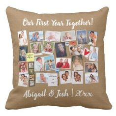 How to make a #PhotoCollage #Pillow - Let us do the work, then you just add the photos!! First Year Together Photo Memories Faux Cork Board Throw Pillow via @Zazzle #Zazzle #ad