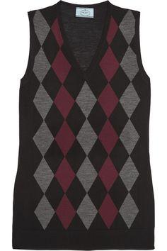 Prada Argyle wool top $840 Merlot, black and gray wool Slips on  100% wool Dry clean Made in Italy