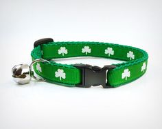 "Cat Collar - ""The Lucky One"" - Clover Green & Tiny Shamrocks - St. Patrick's Day by MadeByCleo #madebycleo #catcollar #cat #cute #kitten #petaccessory #stpatricks #stpattys #lucky #clover #shamrock"