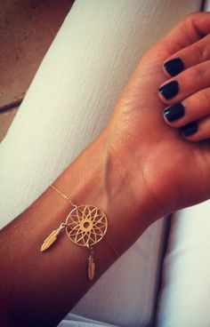 Dreamcatcher bracelet - dream catcher - gold bracelets