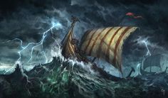I like the idea of having a storm be the background of the viking ship tattoo viking ship storm - Google Search