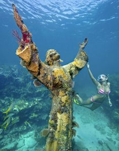 "The ""Christ of the Abyss"" statue, an underwater icon at John Pennekamp Coral Reef State park, off Key Largo, Florida."