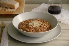 Risotto al vino tinto - MisThermorecetas Sandwiches, A Food, Food And Drink, Cereal, Oatmeal, Stuffed Peppers, Breakfast, Recipes, Carne