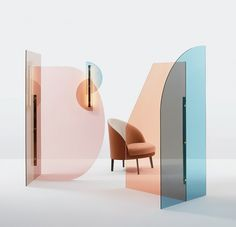 Cloison en verre coloré VELA By arflex design Ellen Bernhardt, Paola Vella Glass Room Divider, Room Dividers, Interior Inspiration, Design Inspiration, Deco Design, Lamp Design, Design Case, Display Design, Design Trends