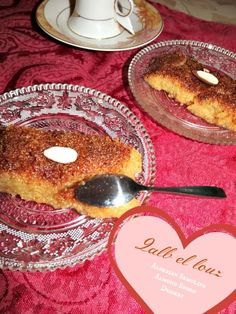 Traditional Qalb bel louz | Algerian Semolina Spoon Dessert with Almond Center...., ,