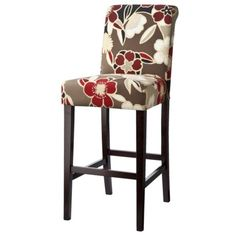 How cute is this? Avington Red Floral Barstool $71.99. I want 2 and a tall table.