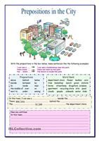 Preposition Worksheets Middle School Prepositions In the City Learn English Preposition Activities, Grammar Activities, Teaching Grammar, English Activities, Teaching English, English Prepositions, English Vocabulary, English Grammar, English Lessons