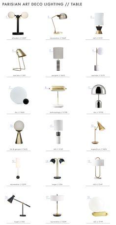 "The ""Parisian Art Deco"" Style: Lighting + A Roundup – Emily Henderson Emily Henderson Pariser Art Deco Leuchttisch Roundup Miami Art Deco, Art Deco Furniture, Furniture Layout, Cool Furniture, Furniture Websites, Furniture Removal, Modular Furniture, Furniture Showroom, Inexpensive Furniture"
