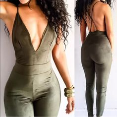 Stylish fall winter  trendy celebrity 2016 suede bodycon pantsuit romper bodysuit🍁 Host pick, top rated, suggested seller🍁 Material: cotton spandex suede🍁 Please refer to size chart for sizing; tag size is large but will fit a Med or curvy small best 🍁 Same day shipping🍁 Offers considered but low balls will be declined🍁 Every body type is different don't compare your fit exactly to the model🍁 Will bundle for special discounts🍁