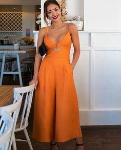 Front tie, with cutout, wide leg, orange jumpsuit. This spring or summer outfit is perfect for any occasion. Summer Outfits, Casual Outfits, Fashion Outfits, Womens Fashion, Curvy Girl Fashion, Summer Dresses, Fashion News, Casual Dresses, Overall