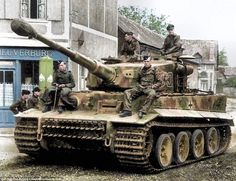 Tiger crew taking a break near Normandy June 1944. The armoured units near Normandy had orders not to engage unless ordered so. During…