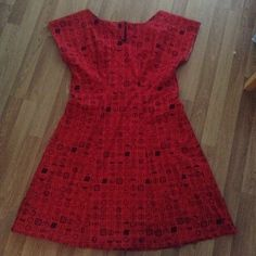 Red postage stamp dress