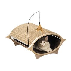 Stackable cat bed with a sisal scratching surface and detachable wand toy. Product: Cat bed and scratcher Constr...
