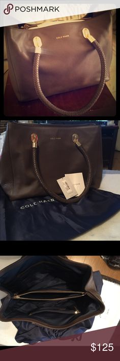 """Gorgeous Cole Haan Benson Large Tote in Chestnut! A Gorgeous Gently Used Cole Haan Benson Large Tote in Chestnut!... Handles are woven to enhance the classic look of this gorgeous tote... Multiple Inner Compartments: Zip Divider, Zip Pocket, Card Slot, 3 Slips, Open Top!!! Handle Drop 8.5""""... Dust Bag Included!! This is the Perfect Stylish Classy Tote! The Gorgeous Chestnut color means this Tote can be used year round! Cole Haan Bags Totes"""